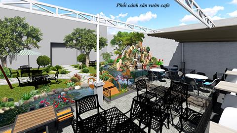 Thiết kế thi công sân vườn quán cafe