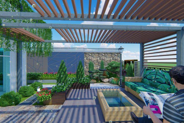 thiết kế vườn trên mái Gia Lai