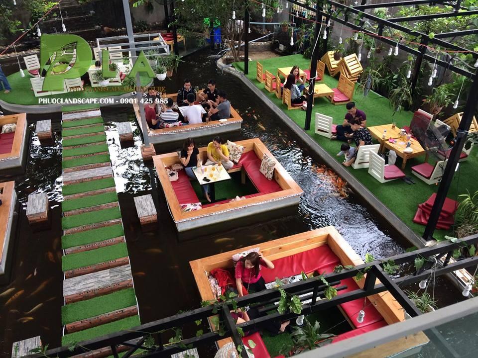 thi công quán cafe hồ cá koi